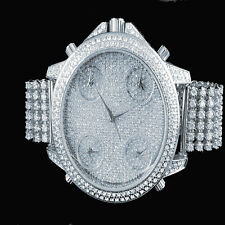 Men bling Master Watch 10 Row Iced Out Band Gold finish  Diamond Simulate