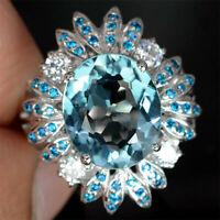 925 Silver Women Fashion Charm Natural Aquamarine Wedding Jewelry Ring Size 6-10