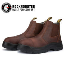 ROCKROOSTER Men's Soft Toe Work Boots Water Resistant Leather Safety Boots EH