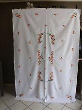 nappe + 8 serviettes, broderies couleurs, pur fil de lin