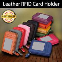 RFID Blocking Leather Wallet Slim Credit Card Holder Mens Money Clip with zipper