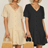 Plus Size Women Ladies Smock Dress Holiday Beach Casual Loose Frill Mini Dresses