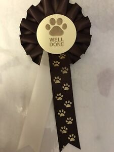 5 X Paw Print Well Done Rosettes