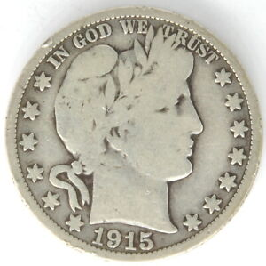 1915 Barber Half Dollar 50 Cent US 90% Silver Coin United States Semi Key Date