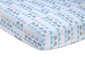Zutano Elephant Blau toddler or Crib Sized Cotton Fitted Sheet