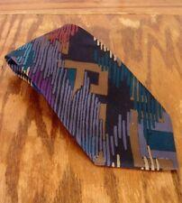 VINTAGE ANNI 80 geometrico multicolore fatto a mano ITALIANA TUTTI SETA uomo