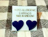 NEW Hypoallergenic Post EARRINGS SET PURPLE Heart Shaped Gold Stud Free Shipping