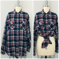 Vintage Sears Mens Button Front Shirt Size Large Tall Plaid Pockets Acrylic