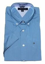 NWT TOMMY HILFIGER SHORT SLEEVE CLASSIC FIT BUTTON DOWN SHIRT - BLUE LARGE / LG