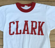 Clark University T Shirt Adult S White Ringer NCAA Cougars Vintage 80s USA Rare