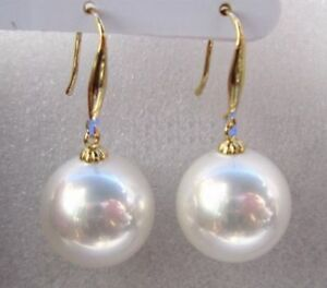 AAA 16mm Natural South Sea White Shell Pearl Earrings 14k Gold