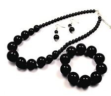 BLACK GRADUATED BEAD NECKLACE EARRINGS  AND BRACELET SET