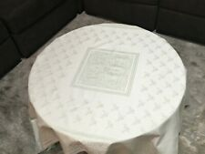 """FRETTE 1908 Green 71"""" X 71"""" Floral Embroidered Tablecloth, ~SOFT & SMOOTHE~"""