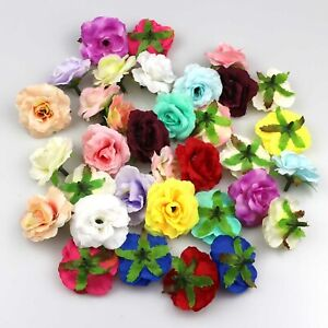 "20Pcs Artificial Silk Fake Small Rose Flowers Heads 2"" for Wedding Home Decor"