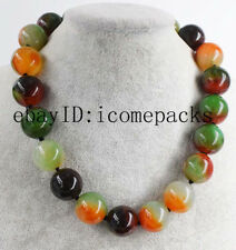 "round necklace 18"" nature beads wholesale fashion red green agate 20mm"