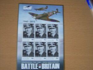 B.I.O.T,2010,BATTLE OF BRITAIN,SHEETLET OF 6 X 50P VALS,U/M,DOWDING,CAT £15.