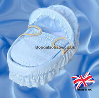 Isabella Alicia Blue Broderie Anglaise Replacement Moses Basket Dressing Covers