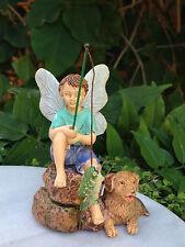 Miniature Dollhouse FAIRY GARDEN ~ Gone Fishin' Boy Fishing with Dog ~ NEW