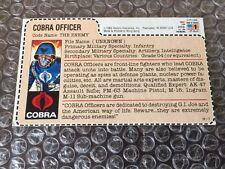 Vintage Hasbro GI Joe Cobra Officer Enemy Red Back File Card Mail Away Exclusive