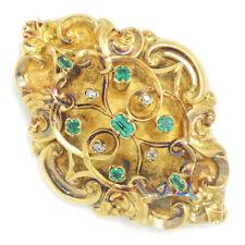 Antique Georgian Emerald & Diamond Brooch Pendant 18K Yellow Gold .39ctw