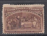 """USA MINT OG Scott #234  5 cent chocolate """"Columbian Exposition"""""""