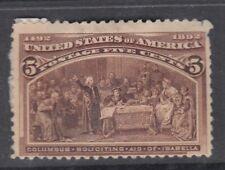 """USA MINT OG Scott #234  5 cent chocolate """"Columbian Exposition""""  **"""