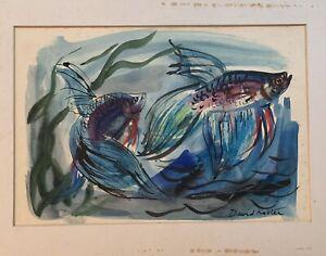 "David Koster - Watercolour "" Two Siamese Fighting Fish"""