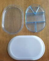 Vtg Tupperware Preludio Oval Watercolor Blue Acrylic Serving Trays Inserts 6 pcs
