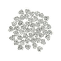50-Pack Heart Beads Resin Rhinestone Flatback for Scrapbook Crafts 12mm