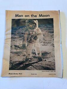 Vintage Boston Sunday Globe Aug 10 1969 Moon Landing Astronauts