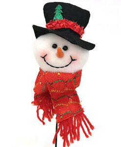 Snowman Christmas Pick Tree Wreath Decor Red Hat Green Scarf R