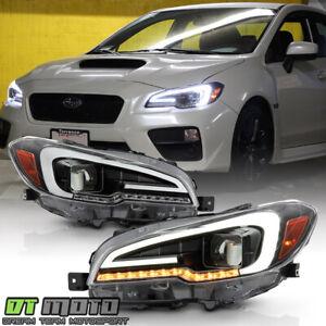 2015-2020 Subaru WRX STI Black LED Tube Sequential Signal Projector Headlights