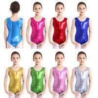 Girls Kids Shiny Gymnastics Leotard Ballet Dance Dress Metallic Jumpsuit Costume