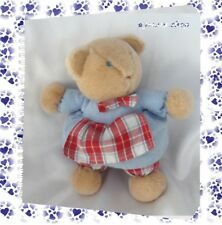 Doudou Peluche Ours Marron Robe Bleu Carreaux Rouge Blanc Jacadi 17 cm