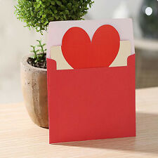 New Year 5pcs Heart-shaped Birthday Christmas Greeting Message Card Envelope2016