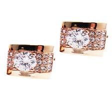 Fashion Rectangle Shirt Cufflinks Mens Wedding Party Accessory Rose Gold