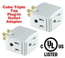 LOT OF 2 TRIPLE OUTLET GROUNDED CUBE ELECTRIC WALL 3 WAY TAP POWER ADAPTER NEW