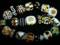 amber handmade lampwork glass jewelry round lentil beads lot focal spacer loose
