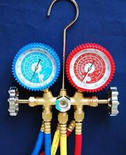 R22 R134a R12 Brass Manifold Gauge+Hose Set HVAC Charging Diagnosis Recovery New