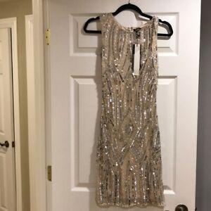 Parker Black Blush Sequin dress size 4 small NWT $495