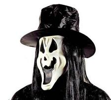 Glow In The Dark Smiling Scream Mask With Hat & Hair Halloween Fancy Dress