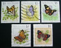 NEW ZEALAND 1991: BUTTERFLIES: SET 5 OF  USED STAMPS:  LOT 4