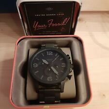 NEW Fossil Nate JR1401 Wrist Watch Black Stainless Chronograph Mens