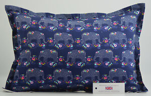 "Handmade Navy Elephants Oxford Style Cushion Inc Pad 14"" x 20"" (36cm x 51cm)"