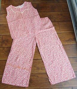 Vintage 1930s 40s Red & White Floral Cotton Beach Pajama Set Loungewear