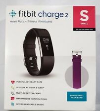 Fitbit Charge 2 Heart Rate & Activity Tracker Black Small w/ Bonus Plum Band Fb4