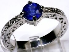 Blue Sapphire Ring in Platinum Overlay Sterling Silver (Size 7) 1.35 Cts
