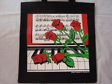 """Piano Keyboard Rose Music Bag 16"""" L x 15"""" W Black Canvas Great Gift Brand NEW"""