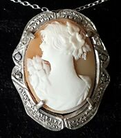 Silver & carved shell cameo vintage Victorian antique maiden pendant