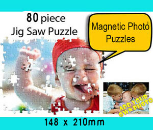 🏅 80 pieces Magnetic Jigsaw Photo Puzzle Personalised Birthday Christmas Gift